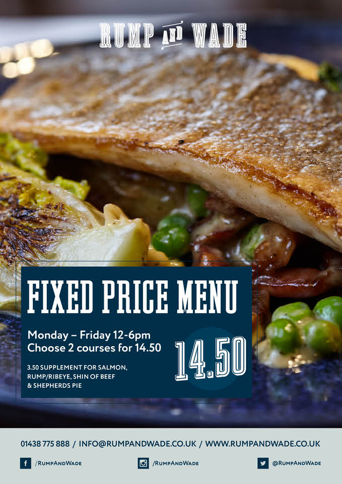 Fixed Price Menu, Monday to Friday 12-6pm Choose 2 courses for £14.50 at Rump and Wade