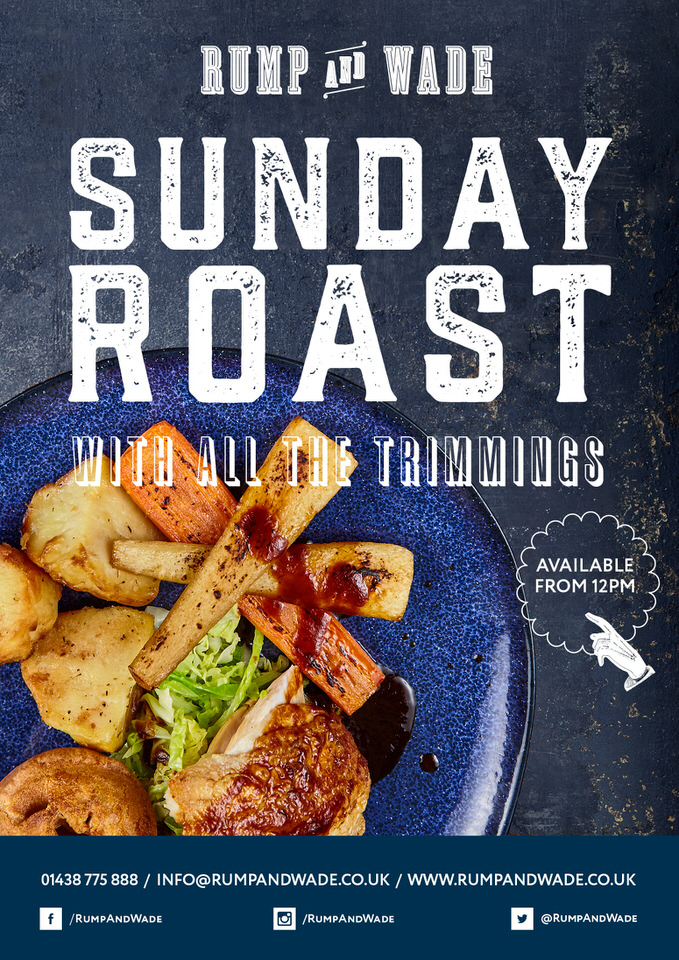 Sunday Roast with all the trimmings. Available Sundays from 12pm.