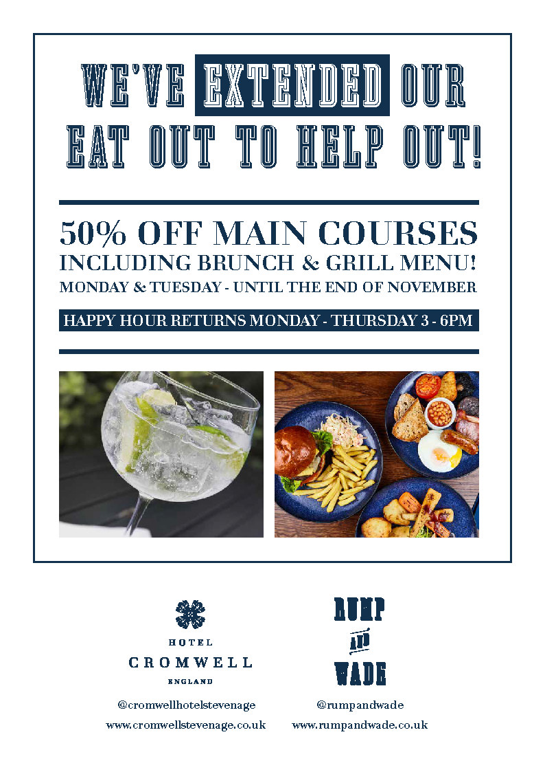 Eat Our To Help Out Extended! 50% off main courses including brunch and grill menu. Monday and Tuesday - until the end of November